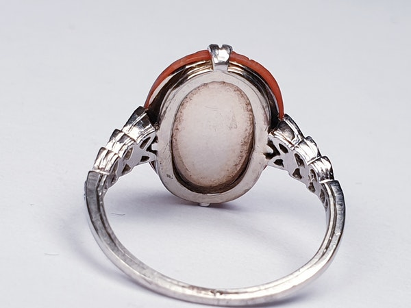 Art Deco Coral & Diamond Ring  DBGEMS - image 3