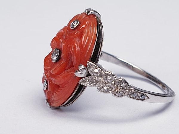 Art Deco Coral & Diamond Ring  DBGEMS - image 4