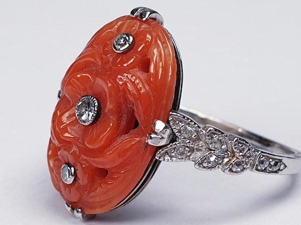 Art Deco Coral & Diamond Ring  DBGEMS - image 5