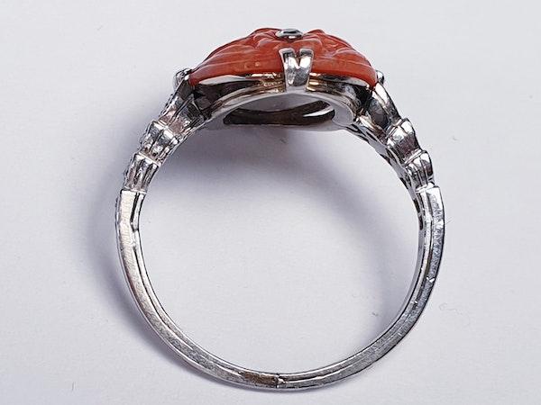 Art Deco Coral & Diamond Ring  DBGEMS - image 2