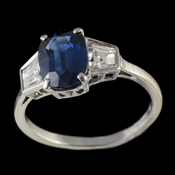 MM6367r Platinum set Art Deco sapphire and square diamond three stone ring - image 2