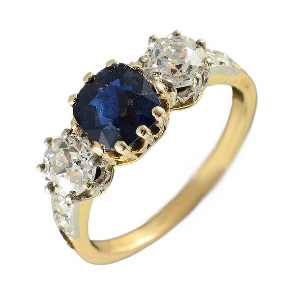 MM6497r Victorian sapphire diamond yellow gold three stone ring - image 1