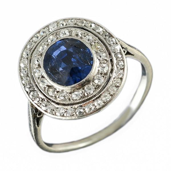 MM6468r Platinum Edwardian sapphire diamond target ring 1910c - image 3