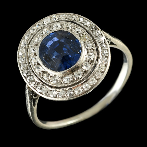 MM6468r Platinum Edwardian sapphire diamond target ring 1910c - image 2