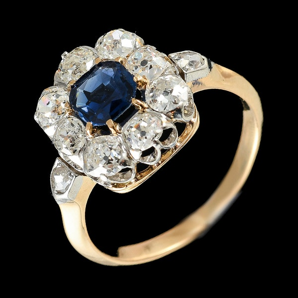 MM6447 Victorian sapphire diamond yellow gold square cluster ring 1890c - image 1