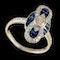 MM6408r Art Deco sapphire diamond platinum marquise ring 1920c - image 2