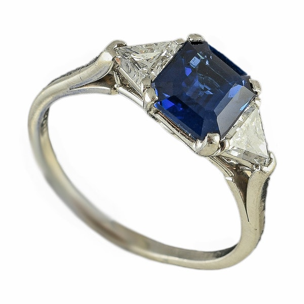MM6446r platinum set fine quality  sapphire and triangle diamond  three stone ring - image 1