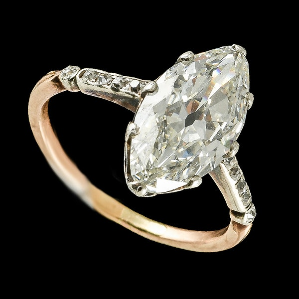 MM6478r Edwardian platinum marquise 2.79 ct diamond great look 1910c - image 2