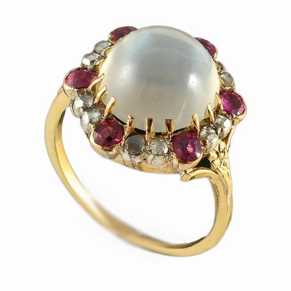 MM6488r Victorian gold moonstone rose diamond ruby cluster ring 1880c - image 1