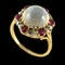 MM6488r Victorian gold moonstone rose diamond ruby cluster ring 1880c - image 2