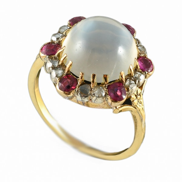 MM6488r Victorian gold moonstone rose diamond ruby cluster ring 1880c - image 3