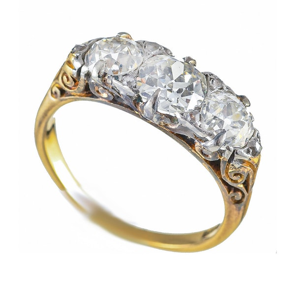 MM6360r Victorian gold carved half hoop three stone diamond ring 1880c - image 1