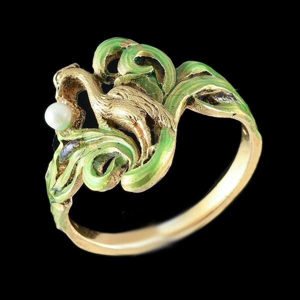 MM6442r Art Nouveau enamel gold pearl ring 1900c - image 1