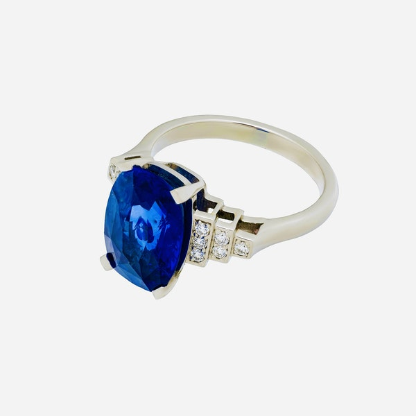 Platinum 5.40ct Natural Blue Sapphire and Diamond Ring - image 2