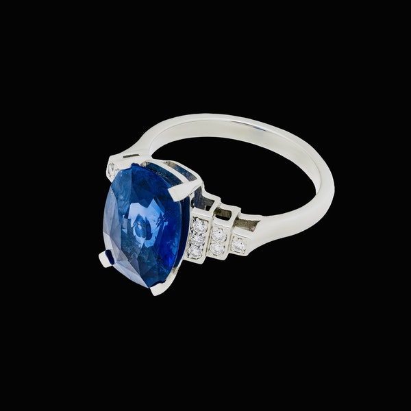Platinum 5.40ct Natural Blue Sapphire and Diamond Ring - image 3
