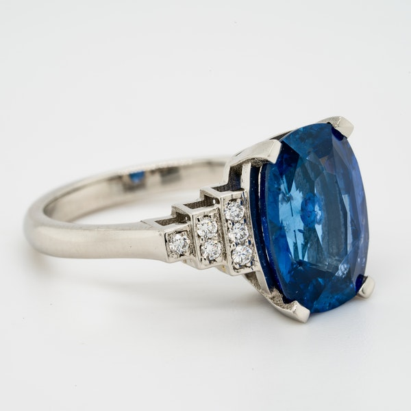 Platinum 5.40ct Natural Blue Sapphire and Diamond Ring - image 6