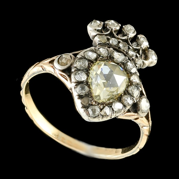 MM6460r Rare Georgian 1820c heartring with rose cut diamonds - image 1