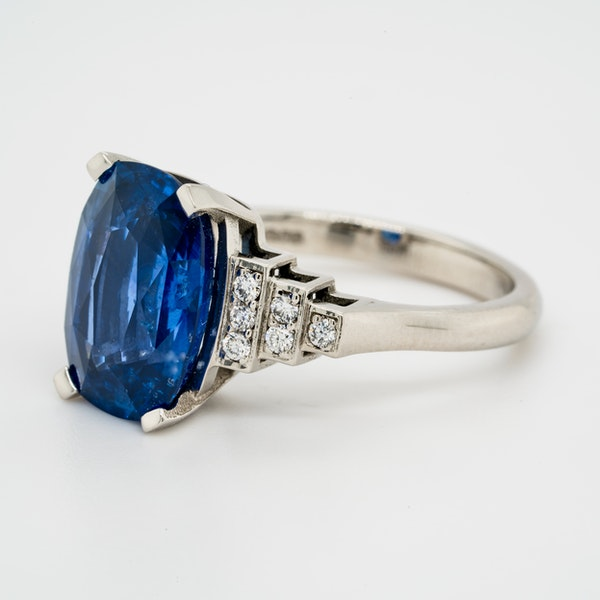 Platinum 5.40ct Natural Blue Sapphire and Diamond Ring - image 7