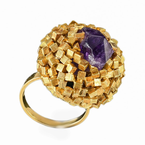 MM6421r John Donald gold amethyst 1960c ring very collectible - image 1
