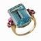 MM6338r fine quality aquamarine ruby gold ring 1960c - image 1