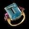MM6338r fine quality aquamarine ruby gold ring 1960c - image 2