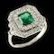 MM6014r Emerald diamond Edwardian French platinum ring 1910c - image 2