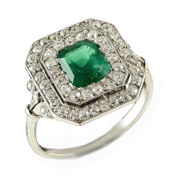 MM6014r Emerald diamond Edwardian French platinum ring 1910c - image 1
