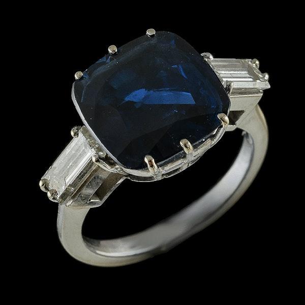 MM6376r Platinum set 6.84ct natural sapphire and diamond ring big look 1940c - image 2
