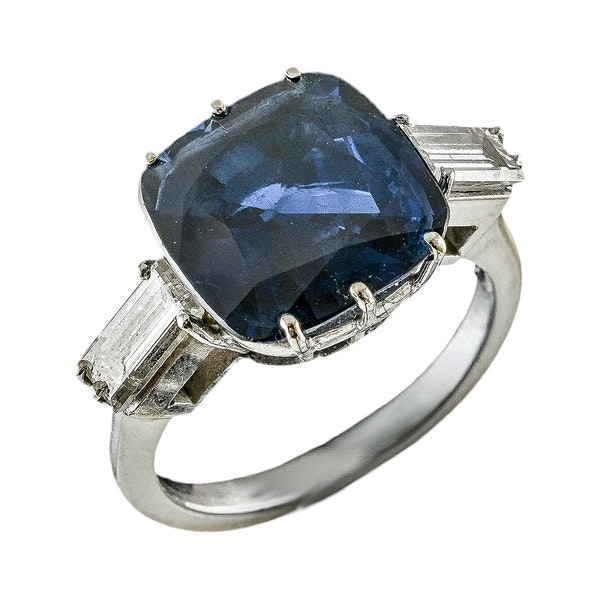 MM6376r Platinum set 6.84ct natural sapphire and diamond ring big look 1940c - image 3