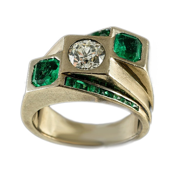 MM6443r Fine quality Emerald diamond Toi moi. Ring fine quality 1960c - image 1