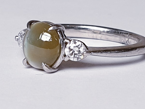 Cat's eye and diamond platinum ring  DBGEMS - image 2