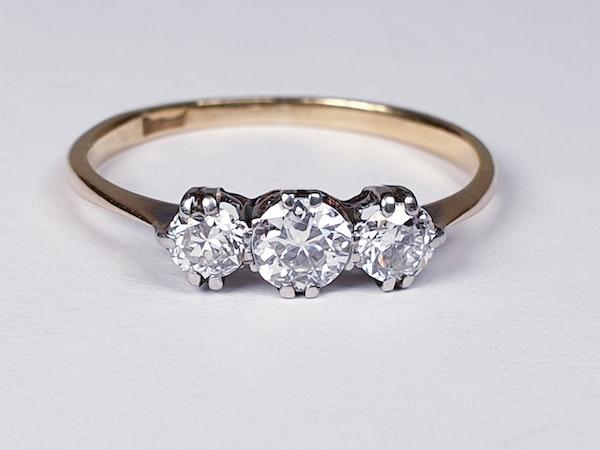 Edwardian Three Stone Diamond Engagement Ring  DBGEMS - image 6