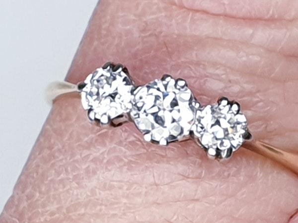 Edwardian Three Stone Diamond Engagement Ring  DBGEMS - image 2