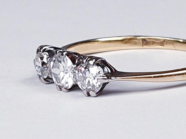Edwardian Three Stone Diamond Engagement Ring  DBGEMS - image 5