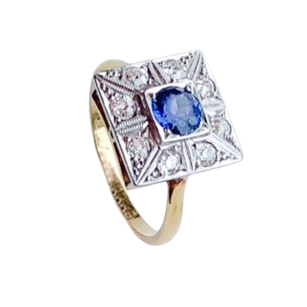 An Art Deco Sapphire and Diamond Ring - image 1