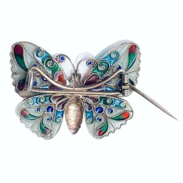 A 1910 Plique-à-jour Silver Butterfly - image 2