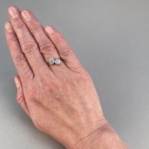 Date: circa 1905, Platinum and Old Mine Cut Diamond Cross Over stone set Ring,,,,,,, SHAPIRO & Co since1979 - image 2