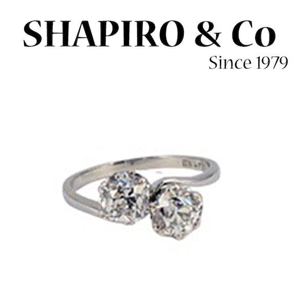 Date: circa 1905, Platinum and Old Mine Cut Diamond Cross Over stone set Ring,,,,,,, SHAPIRO & Co since1979 - image 3