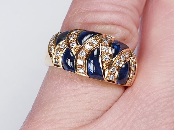 French Cabochon Sapphire and Diamond Gold Ring  DBGEMS - image 5