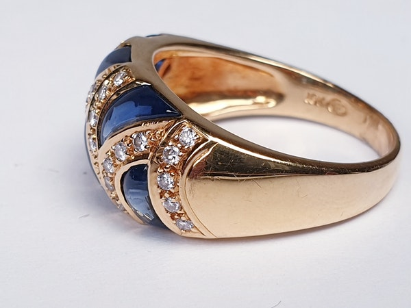French Cabochon Sapphire and Diamond Gold Ring  DBGEMS - image 3