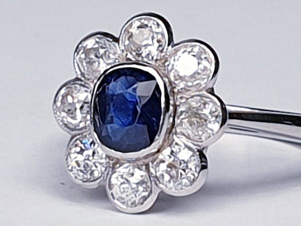 Old Cut Sapphire & Diamond Cluster Ring  DBGEMS - image 5