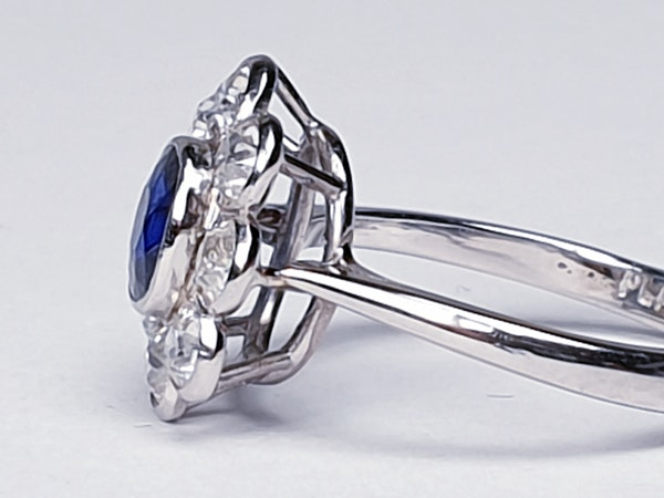 Old Cut Sapphire & Diamond Cluster Ring  DBGEMS - image 4