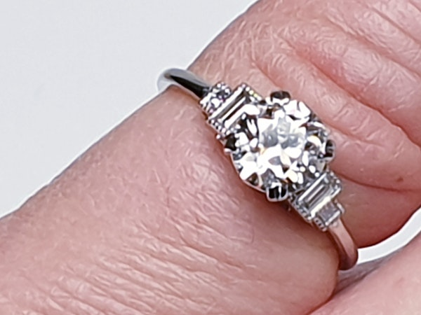 1.06ct old European transitional cut diamond engagement ring with baguette shoulders  DBGEMS - image 3
