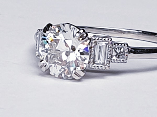 1.06ct old European transitional cut diamond engagement ring with baguette shoulders  DBGEMS - image 6