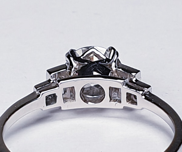 1.06ct old European transitional cut diamond engagement ring with baguette shoulders  DBGEMS - image 4