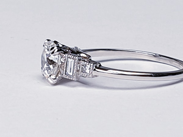 1.06ct old European transitional cut diamond engagement ring with baguette shoulders  DBGEMS - image 5