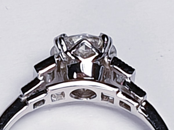 1.06ct old European transitional cut diamond engagement ring with baguette shoulders  DBGEMS - image 7