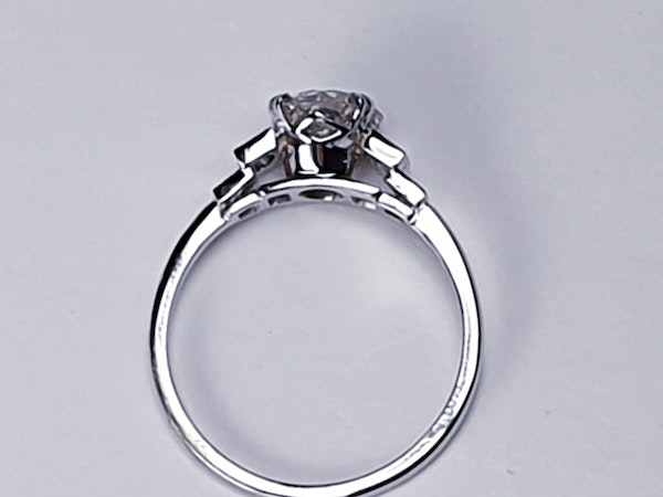 1.06ct old European transitional cut diamond engagement ring with baguette shoulders  DBGEMS - image 2