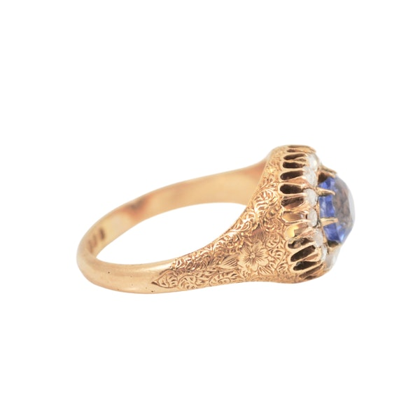 A 1910 Sapphire and Diamond Cluster Ring - image 4