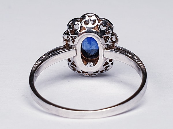 Sapphire and Diamond Cluster Engagement Ring  DBGEMS - image 3